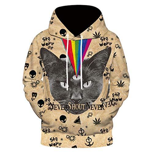 Xmiral 3D Kapuzenpullover Herren Hoodie Pullover Mit Kapuze Sweatshirt Streetwear Slim Fit 3D Druck Kapuzen Winter Hoodie Pullover(Beige-Katze,XL)