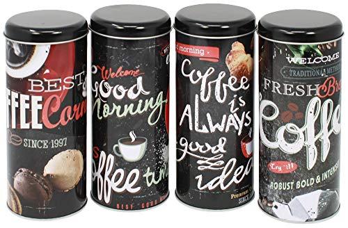 com-four® 4X Kaffeepaddose - Dekorative Vorratsdosen mit verschiedenen Dekoren - Aufbewahrungsbehälter für Kaffeepads (4 Stück - schwarz Mix1)