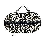 Amybria Tragbare Bra Schutztasche Anti-Druck BH Aufbewahrungstasche EVA Umweltfreundliche Materialien Unterwäsche Organisatorkasten Behälter für die Reise Leopard Muster
