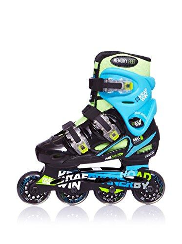 Krafwin Road Runner New - Patines en línea para niños, color verde / azul, talla 33