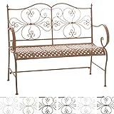 CLP 2er Garten-Bank ANNO V2 mit Armlehne, im Landhausstil, Metall Sitzbank (Eisen lackiert), grazile Form, stilvolle Verzierungen Antik-braun