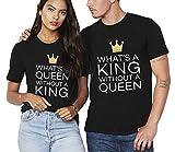 Couple Shirt King Queen Tshirt Coton Tees Shirts pour Homme Femme 2 Pièces Tops à Manches Courtes Anniversaire Cadeau d'amour Chemise Casual Été(Noir/Noir,King-L+Queen-M)