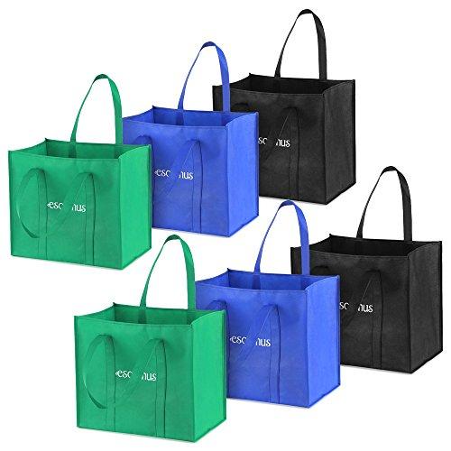 Esonmus 6 pezzi / set multiuso riutilizzabili non tessuti borse per la spesa di grandi dimensioni borse per la spesa pieghevoli borse di stoccaggio con doppi manici rinforzati