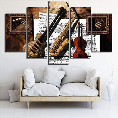 7JOHN Leinwand Wandbilder 5 Stück Musikinstrumente Gitarre Saxophon Violine Musik Partitur Gemälde