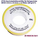PTFE-Gewindedichtband Rolle (Teflonband) FRp für Feingewinde DN10 nach DIN EN 751-3, 12mm x 0.1mm x 12m (60 g/m²) (20 Stück)