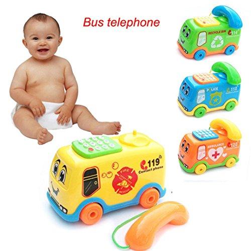 Sonnena Kinderspielzeug, Baby Kinder Musikspielzeug Karikatur Bus Geformt Telefon Babyspielzeug Lernspielzeug Musical Spielzeug (13 * 8 * 9cm)