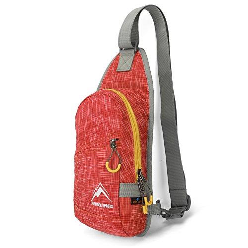 Zaino a spalla Maleden impermeabile per sport allaperto, monospalla con stile casual leggero per uomini e donne, Sky Blue Orange