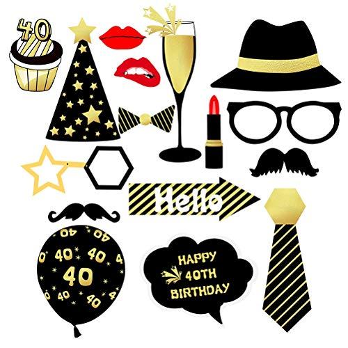 Amosfun Fotorequisiten Fotoaccessoires Happy 40th Birthday Fotostand Requisiten Party Zubehör Set 40 Geburtstag Party Dekoration 16 Stücke