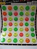 Packung 42 klein Party, geschenk, partytüten geschenk mode neuheit 80er jahre neonfarben: pink, grün, gelb smiley glückliches gesicht 3cm durchmesser abzeichen von Fett-Catz-Kopie-catz