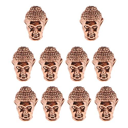 Sharplace 10 Stück Buddha Kopf Anhänger Halskette Charme Perlen Charms Anhänger für Schmuck Basteln - Rose Golden