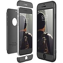 CE-Link Funda para Apple iPhone 6 6S Rigida 360 Grados Integral, Carcasa iPhone 6 Silicona Snap On Diseño Antigolpes Choque Absorción, iPhone 6S Case Bumper 3 en 1 Estructura - Negro