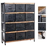 CLP Kommode SHANKARA im Industrial-Look/Regal mit Laufrollen und Metallschubladen/Sideboard mit Einer Höhe von: 160 cm Schwarz