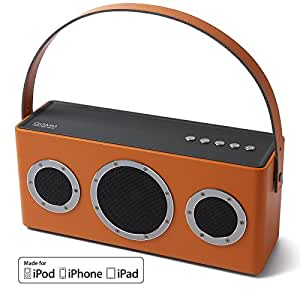 GGMM M4 Leather Wireless Wi-Fi/Bluetooth Portable Speaker w/ Rechargeable Battery   Featuring Airplay, DLNA, Spotify, Pandora, and Multi-Room Play (Orange),Orange