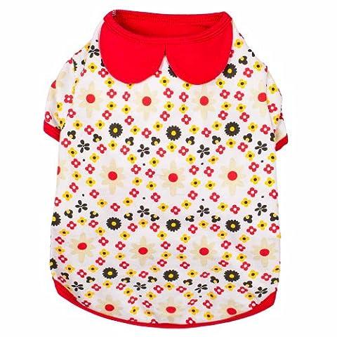 Blueberry Pet Garden Flower Peter Pan Collar Cotton Dog Shirt, Back Length 16