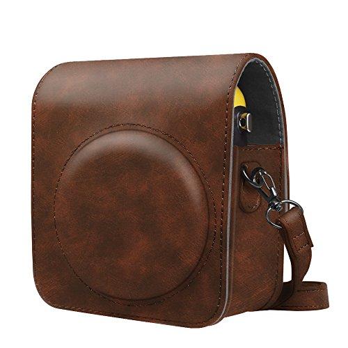 Fintie fujifilm instax mini 70 custodia - protettiva borsa con tracolla regolabile in pu pelle per fujifilm instax mini 70 fotocamera istantanea, vintage brown