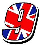 Startnummer Nummern Zahl Auto Moto Vinyl Aufkleber Sticker Motorrad Motocross Motorsport Racing Nummer Tuning Flagge Fahne Großbritannien UK United Kingdom (9), N 299