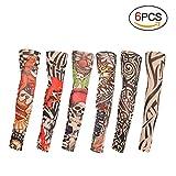 TAGVO Manicotti finti per tatuaggi, 6 pezzi Manicotti per braccia in nylon per moda Manicotti per sport all'aria aperta Traspiranti soffici parapioggia per asciugatura rapida Manicotti elastici per la corsa / Ciclismo / Guida / Arrampicata / Golfing