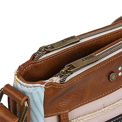 51TfKc3ucgL. SS416  - SKPAT - Bolso Bandolera Mujer. Triple Compartimento Principal. Bolsillos Delante y Detrás con Cremallera. Ideal para Diario. Lona y Piel Sintética Polipiel. Incluye Llavero. 301633