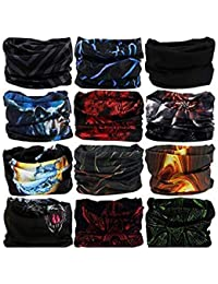 Generic Men's and Women's Elastic Seamless Neck Gaiter UV Resistance Bandana Headband (skytouch india, Multicolour, Free Size) - Set of 3 Pieces