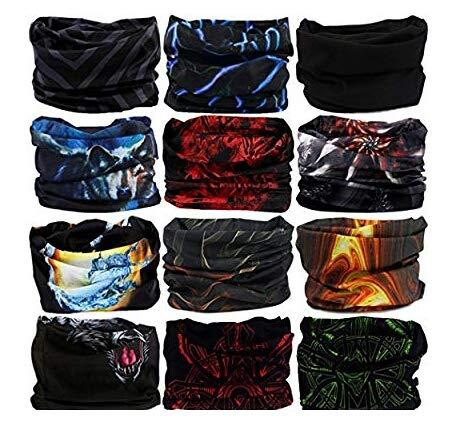Generic Men\'s and Women\'s Elastic Seamless Neck Gaiter UV Resistance Bandana Headband (skytouch india, Multicolour, Free Size) - Set of 3 Pieces