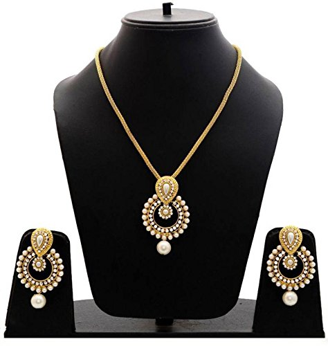 Saraa Dazzling Cubic Zirconia Pearl White&Gold Necklace Set for Women/Girls