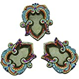 Amazing Arts Handmade Clay Beautiful Traditional Terracotta Diyas For Diwali Decoration (Set Of 3) - B076D9TW85