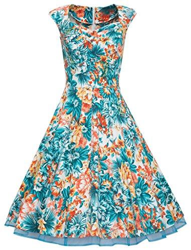 Eudolah Robe Vintage Uni décolletée en coeur sans manche style années 50 Rockabilly Swing Femme Fleurs