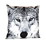 Motivkissen Wolf Wölfe 40cm x 40cm Dekokissen Couchkissen Sofakissen Kissen (Kopf schwarzweiss)