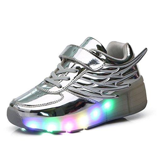 Skateboardschuhe Kinder Schuhe mit Rollen Roller Skate Schuhe Skateboard Schuhe Sneakers Turschuhe Laufschuhe Sportschuhe mit Rollen für Mädchen Jungen Silber 35