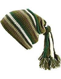 Green STRIPE SLOUCH BEANIE HIPPIE FESTIVAL TASSEL HAT Wool Knit Fleece Lined