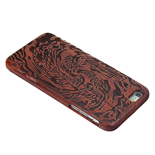 Coque iPhone 7 Anti Choc Case en Bois Naturel Forepin® Réel Etui Couvert et Housse en Wood Dur dans Motif de Sculpté élégante Protecteur pour iPhone 7 (Lion) Tourbillon