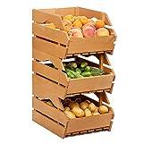 Alpensilver Stapelkiste aus Holz raumsparende Holzkiste, Universalholzbox für Früchte, Gemüse, Flaschen, Werkzeuge, Spielwaren und mehr – Grosser Allzweck-Aufbewahrungskasten mit Handgriffen