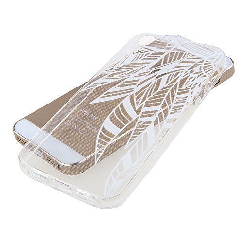 iPhone SE Hülle,iPhone 5S Hülle,iPhone 5 Hülle, iPhone SE / 5S / 5 Silikon Crystal Case Hülle mit Malerei Muster, SainCat Weiche Transparent Silikon Schutzhülle Hülle Gel Bumper Soft TPU Case Backcase Bambus Blume