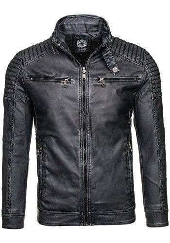 BOLF Ökolederjacke Herrenjacke Sweatjacke Zipper Sweatshirt FEIFA FASHION 9103 Dunkelgrau_ 1773C