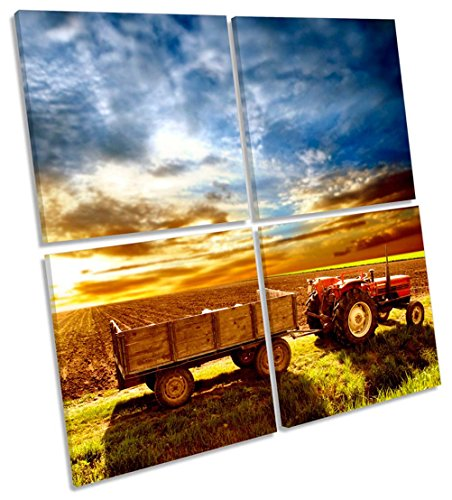 Geek-ernte (Traktor Bauern Field-Ernte Multi-Leinwand Wand Kunst Eckig Bild, gerahmter Kunstdruck, 80cm wide x 80cm high)