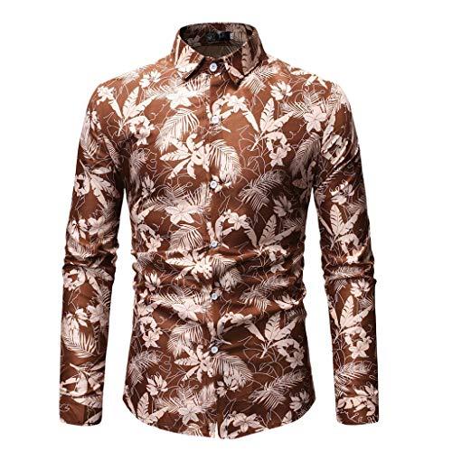 Rosennie Herbst Winter Herren 3D-Druck T-Shirt Herren Hemd Slim Fit Langarm Hemden Freizeit Hochzeit Arbeit Business Muster Ärmel Sport Langarm T-Shirts Top Hawaii-Shirt für Mens Heavyweight Long Sleeve Sweatshirt