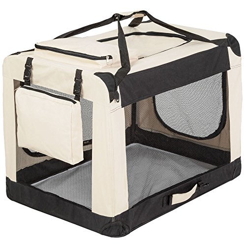 "TecTake Faltbare Hundetransportbox Transportbox beige 80x55x58cm ""XL"""