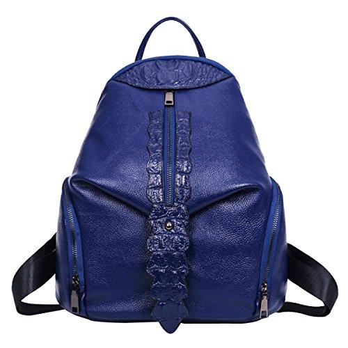 Damen PU Weich Krokodil Bunt Mode All-Match Veränderbar Rucksack Handtasche Blue