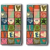 Mouchoirs 20 (2 x 10) peace and love/coeur/love/motivtaschentücher