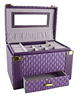 Feibrand Faux Leather Woven Pattern Jewellery Box (Purple)