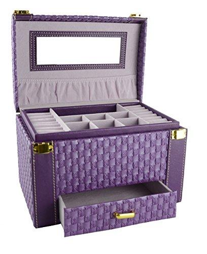Feibrand Faux Leather Woven Pattern Jewellery Box Purple