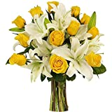 Floralbay Mother's Day Special Glass vase arrangement of 12 Yellow Roses and 8 White Asiatic lilies with greenery