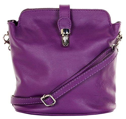Primo Sacchi ® italienische Leder Hand gemacht kleine lila Kreuz Körper oder Schultertasche Handtasche. Enthält einen Markenschutz-Beutel