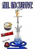 Amy Deluxe 440 Stillness II Klick: Premium-Shisha, Geschenk-Set mit 44-Ring-Kohle & Shiazo (Blau RS Chrom)