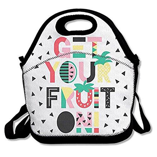 ZMvise Get Your Fruit On les sacs réutilisables pique - nique déjeuner tote isolés boîtes hommes femmes enfants toddler infirmières sac de voyage