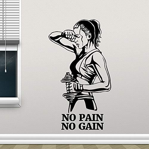 in No Gain Fitness Vinyl Sticker Motivation Quote Art Wall Room Decor Self Adhesive Train Posters57x100 cm ()