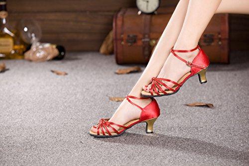 Zapatillas De Baile Xpy & Dgx Latin Red, Mujeres Adultas En Zapatillas De Baile Con Modernos Zapatos De Baile Cuadrados, Tacones Suaves De Verano, 7 245mm