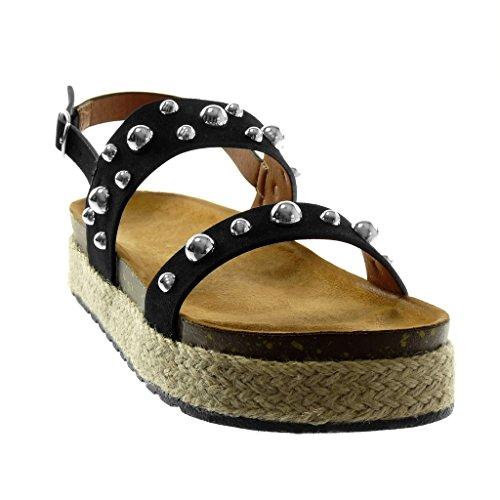 Angkorly Chaussure Mode Sandale Mule Lanière Cheville Plateforme Femme Clouté Perle Corde Talon Compensé Plateforme 4 cm Noir