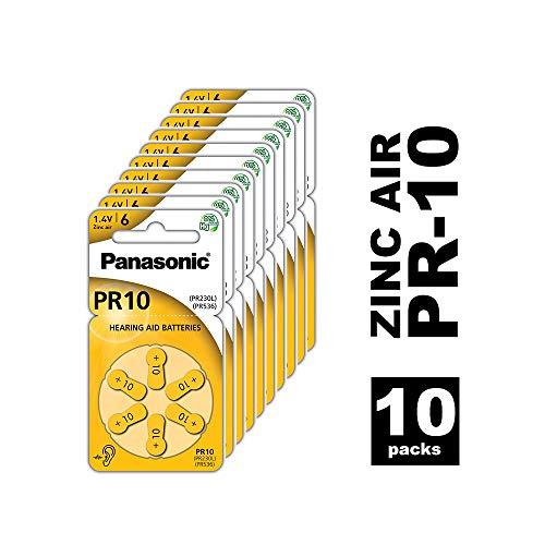 Panasonic PR10 Zink-Luft-Batterien für Hörgeräte, Typ 10, 1.4V, Hörgerätbatterien, 10 Packungen (10 Stück), gelb