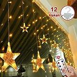 Star Led Curtain, Afufu 12 luces de cadena LED con control remoto Luces de cadena de interior de bajo voltaje para bodas, Navidad, vacaciones, fiestas y hogar (blanco cálido)